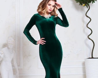 d9bb657b30f Emerald green velvet dress