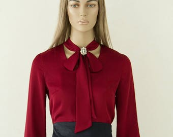 Blouse with bow, Silk blouse, Burgundy blouse, Summer shirt, womens shirts, dressy blouses, womens blouses, shirts for women, silk shirt
