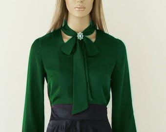 Blouse with bow, Silk blouse, Green blouse, Summer shirt, womens shirts, dressy blouses, womens blouses, shirts for women, silk shirt