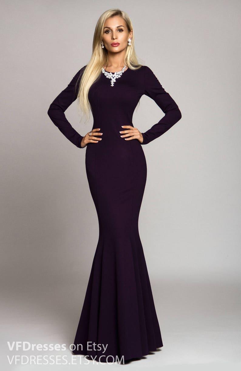 cdcc6819a7c891 Lange jurk donker paarse jurk Maxi-jurk avondjurk speciale