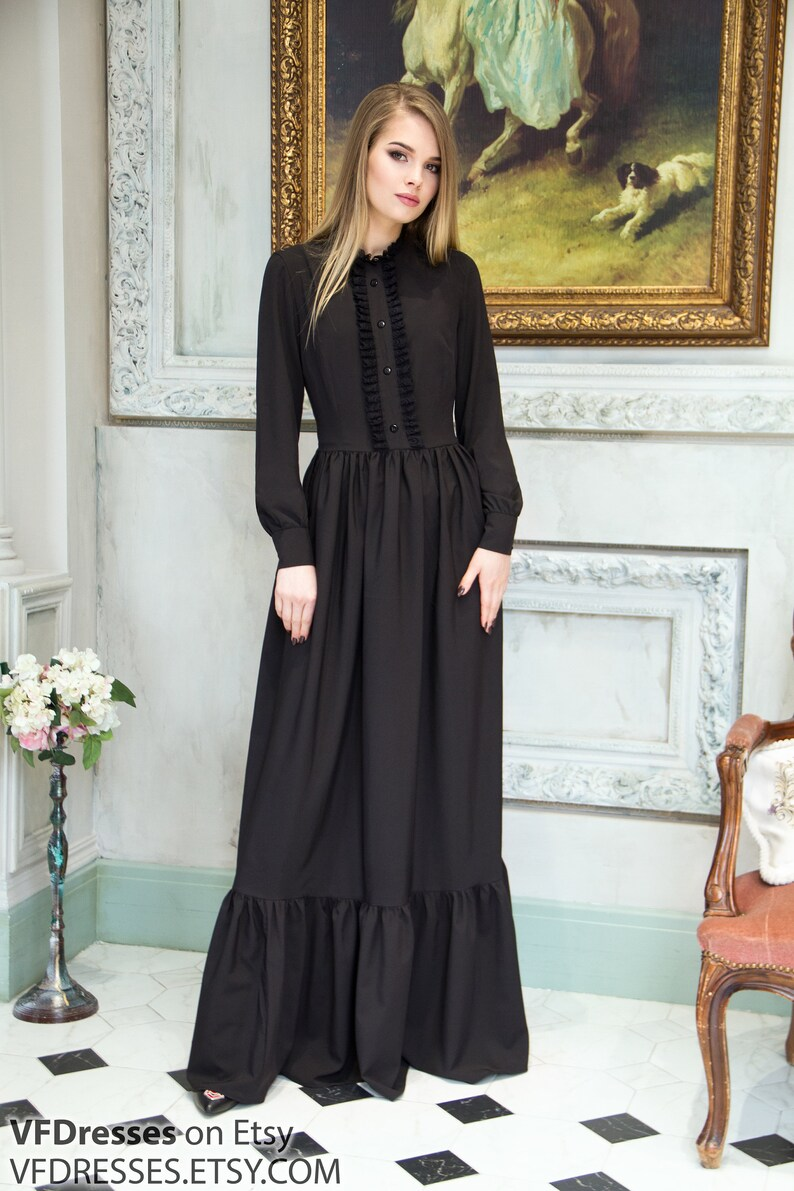 Victorian Clothing, Costumes & 1800s Fashion Black evening dress victorian style special occasion woman dress victorian dress long Evening gown Formal Dress Black maxi Dress $115.00 AT vintagedancer.com