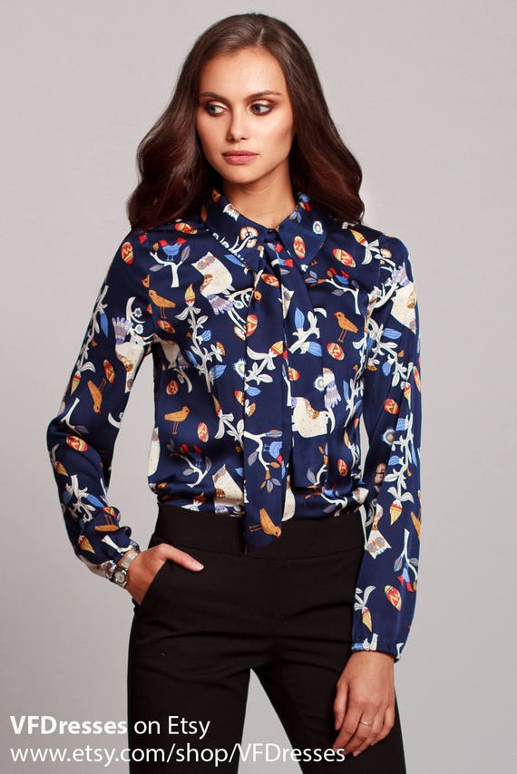 Silk Blouse Dark Blue Summer Blouse With Beautiful Print Etsy