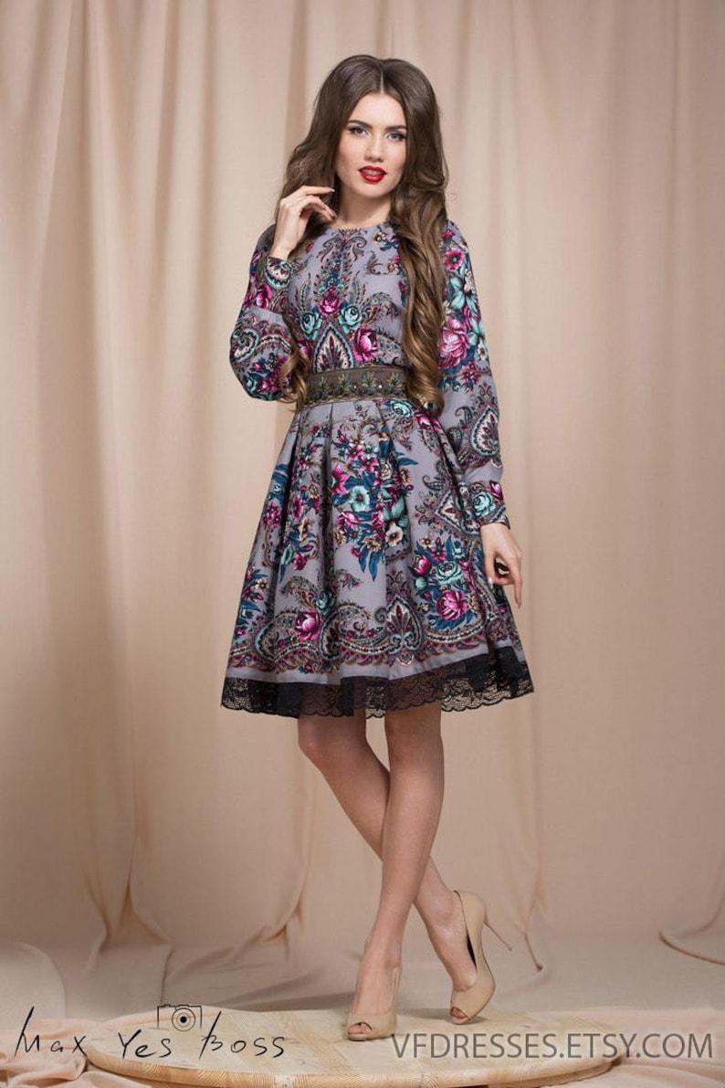 444bff1e8b1 Robe dété gris robe fleuri Boho gypsy floral robe robe