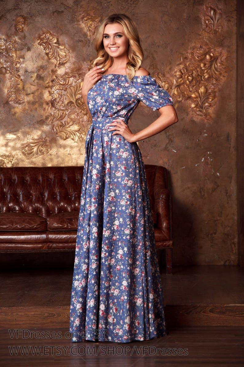 a0a0fb576aa1 Maxi dress summer Blue floral summer Dress Blue floral maxi