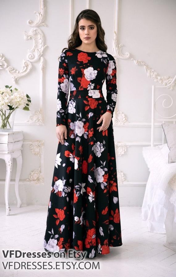 97e4029836d Long floral dress black maxi dress dress for special | Etsy