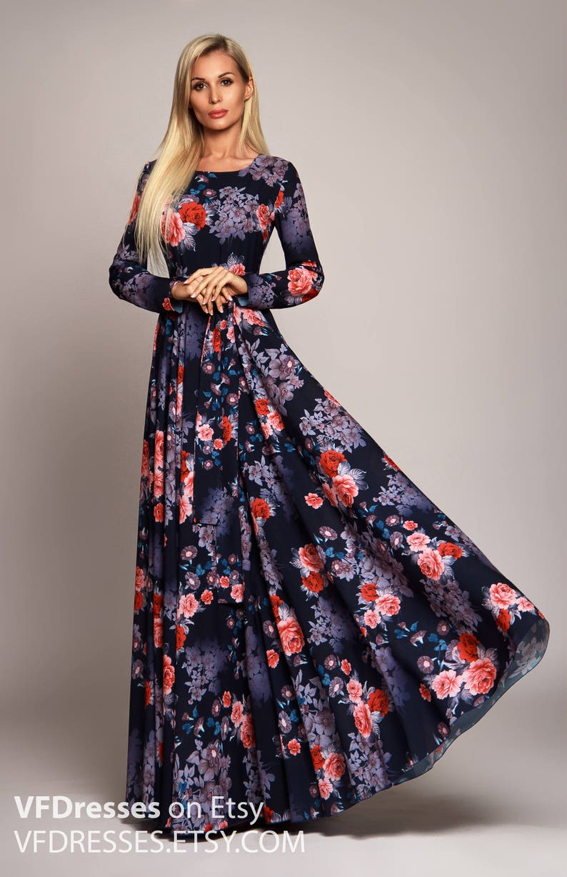 4b45766f70d Dark blue Floral maxi dress long sleeve dress summer dress