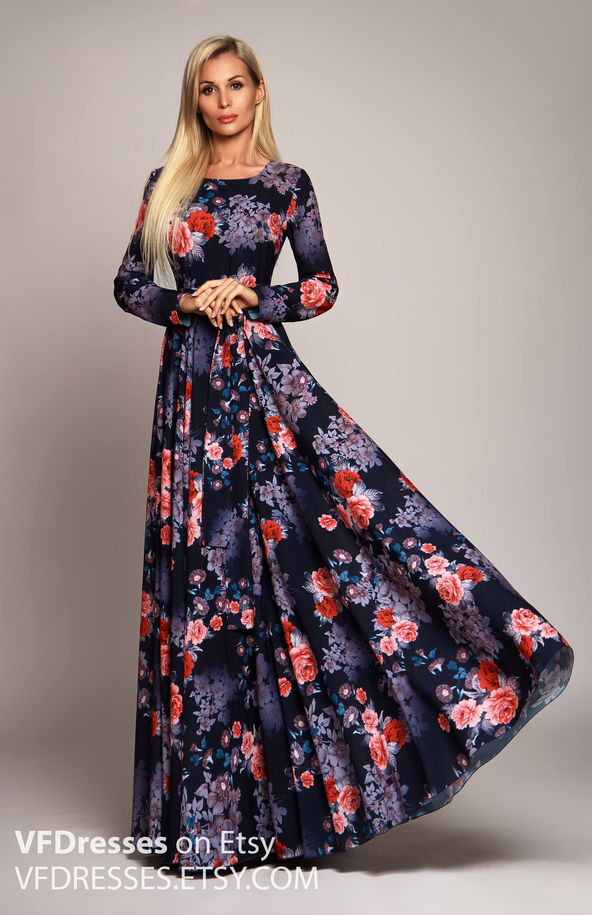 4536935fb00c Dark blue Floral maxi dress long sleeve dress summer dress