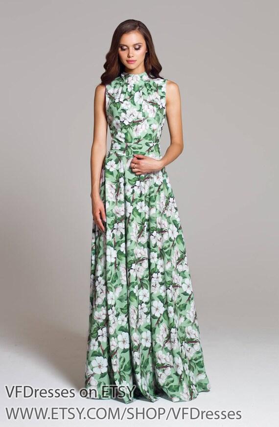 e85ca8ab9dfab Green floral dress maxi Long summer dress long dress formal