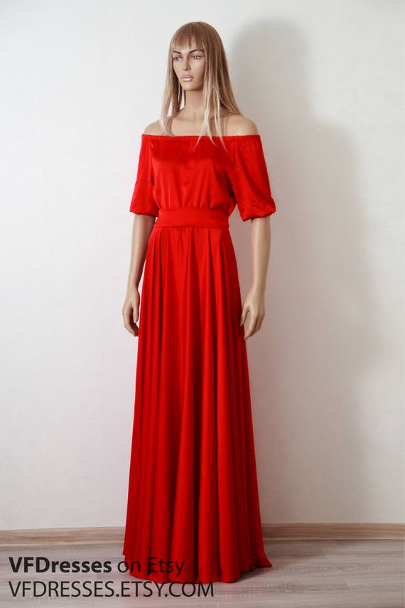 Red summer Dress Silk dress maxi off shoulder dress full  2d8bdb85d25e