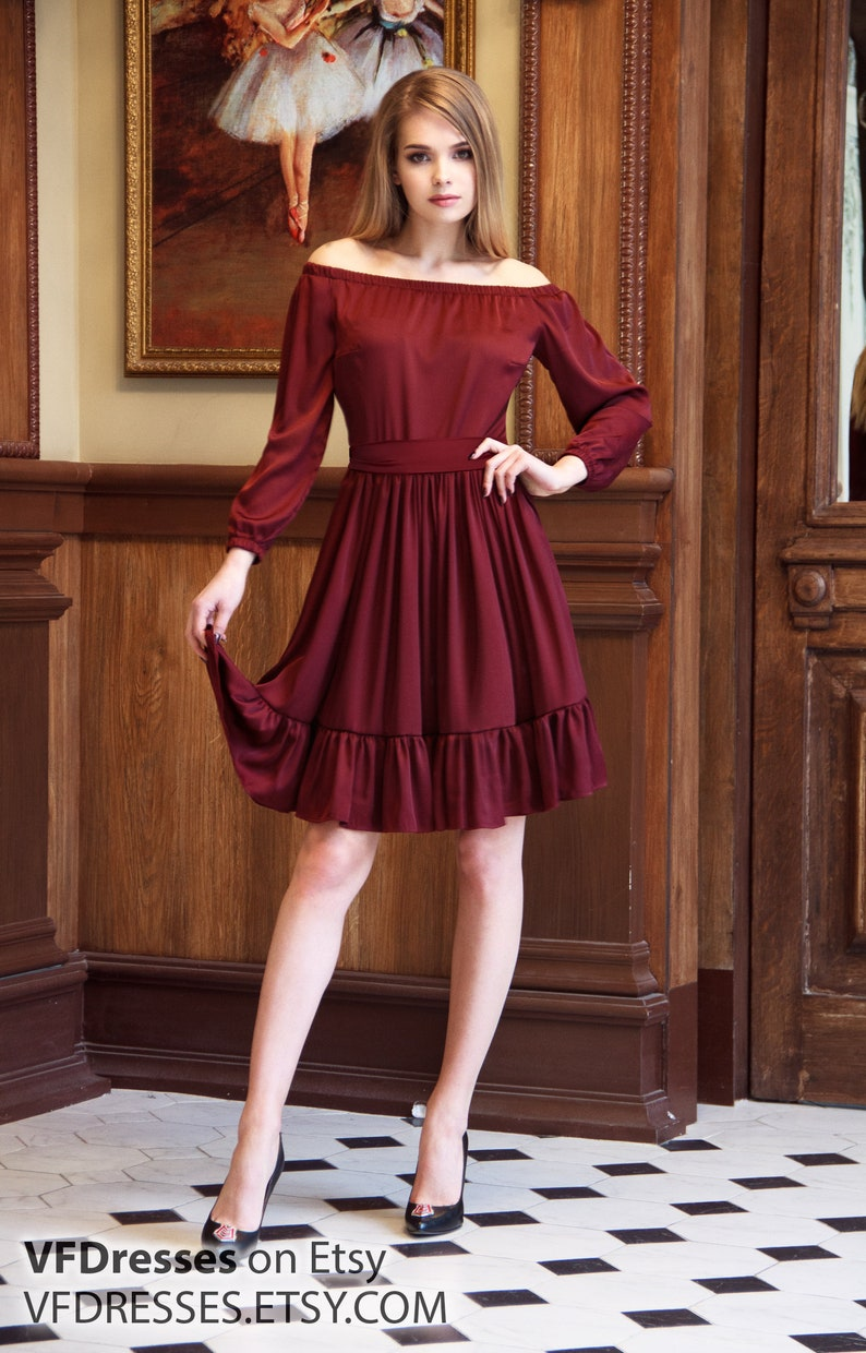 b53d57a7118f Silk Dress Burgundy Dress Bridesmaids Midi Dress summer | Etsy