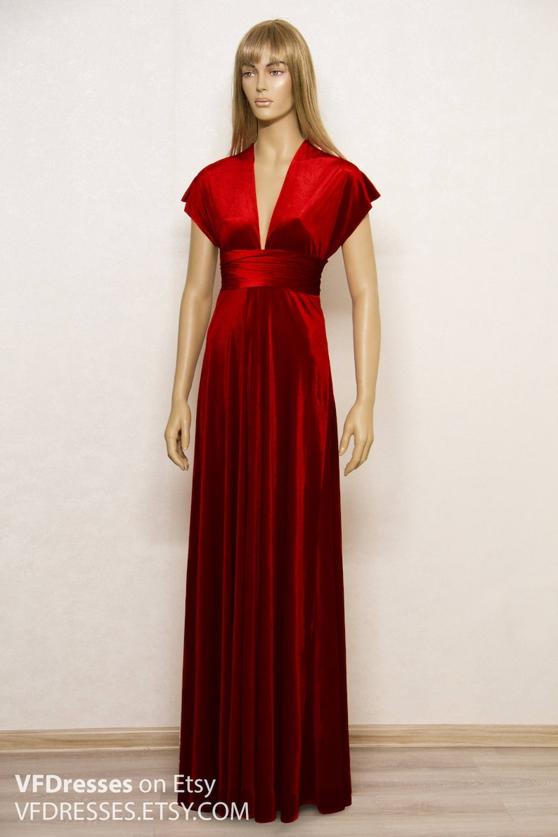 b30d9b230784 Burgundy velvet Dress infinity dress bridesmaid dress Long