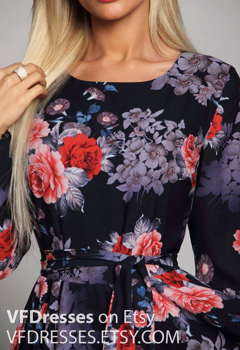 Dark blue Floral maxi dress Bridesmaids Dress long sleeve dress summer dress Formal dress Evening Gowns Special occasion womens dress