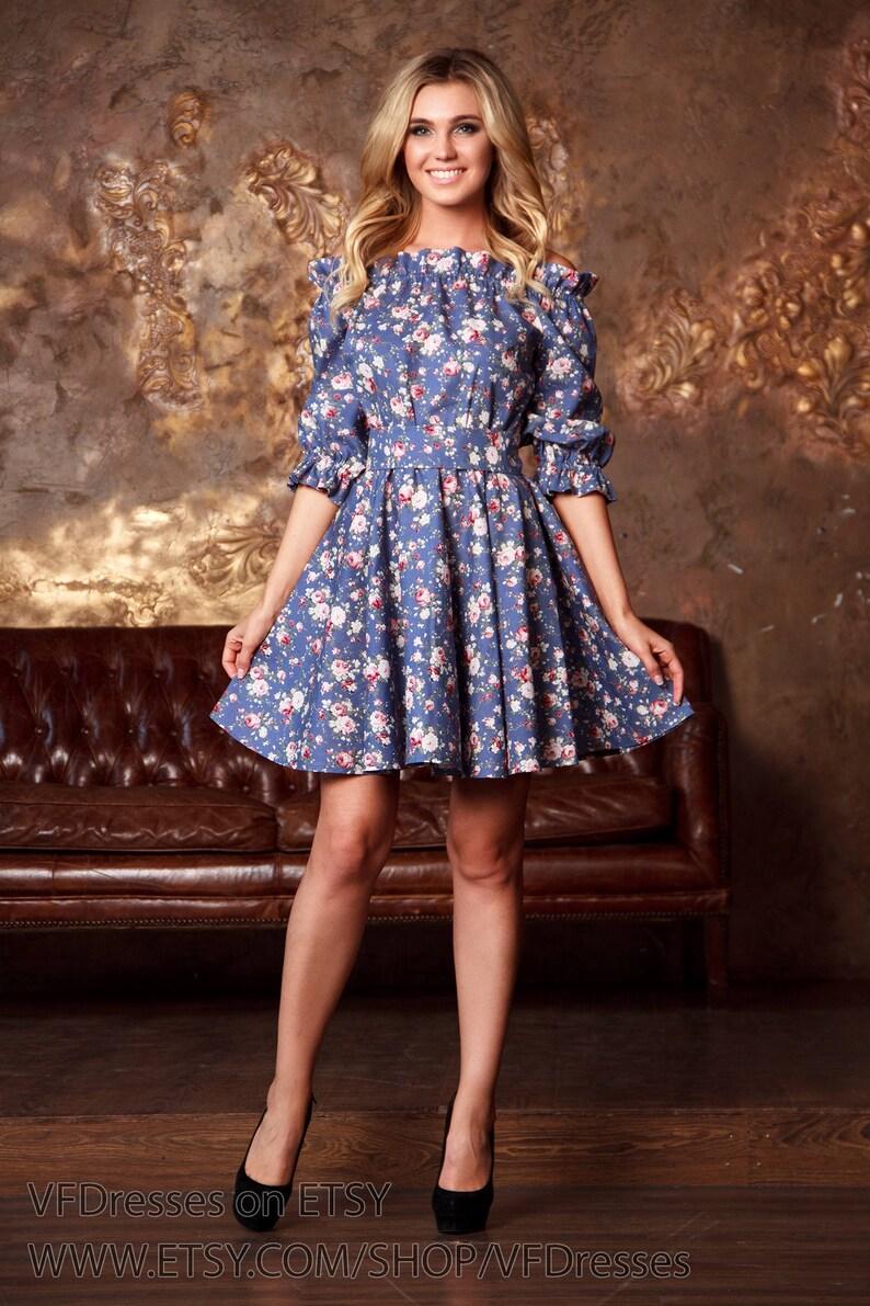 9655a23da258 Blue floral summer Dress short dress Casual printed dress