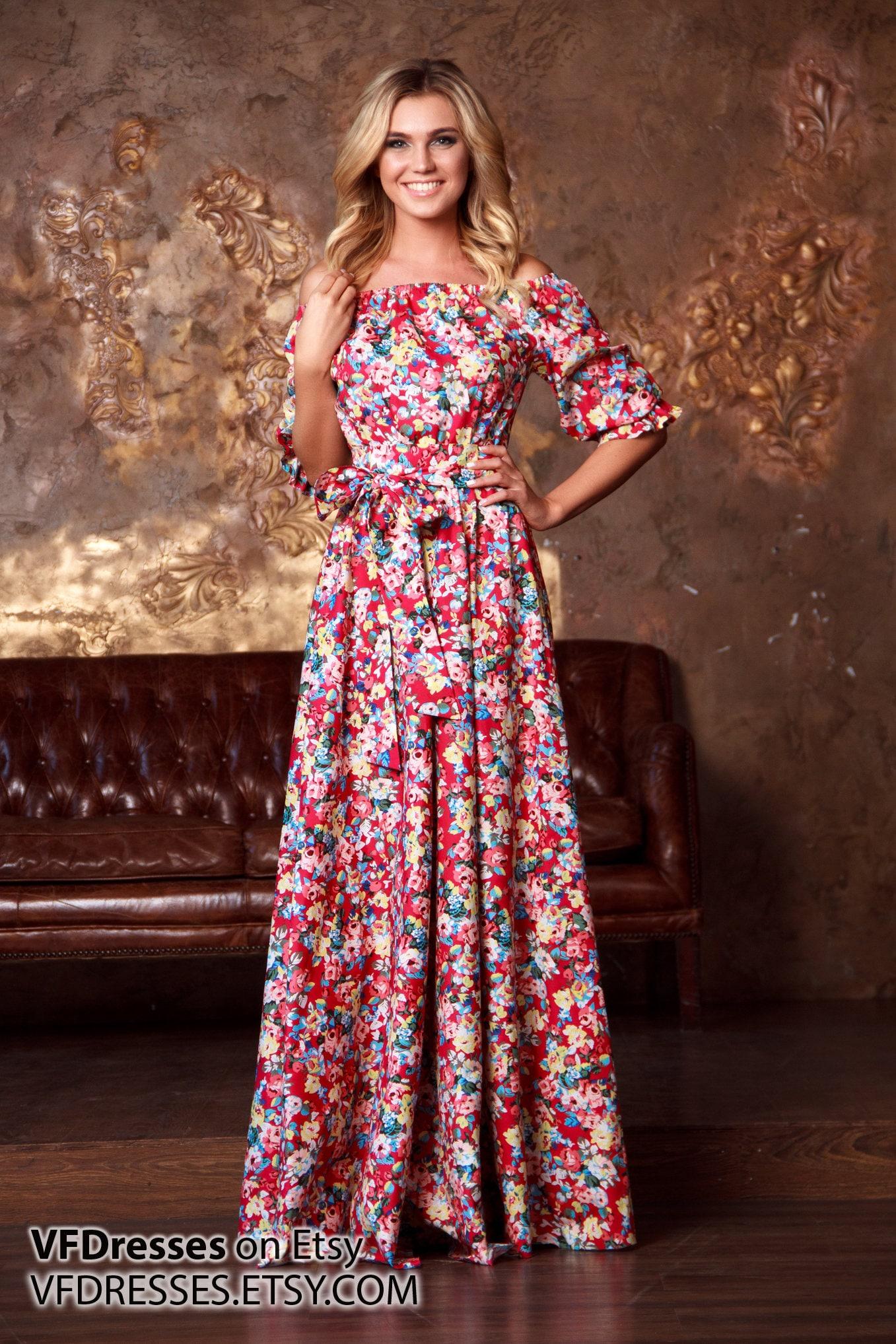 Rosso floreale di estate lunga Casual stampato maxi dress  c6054832b72