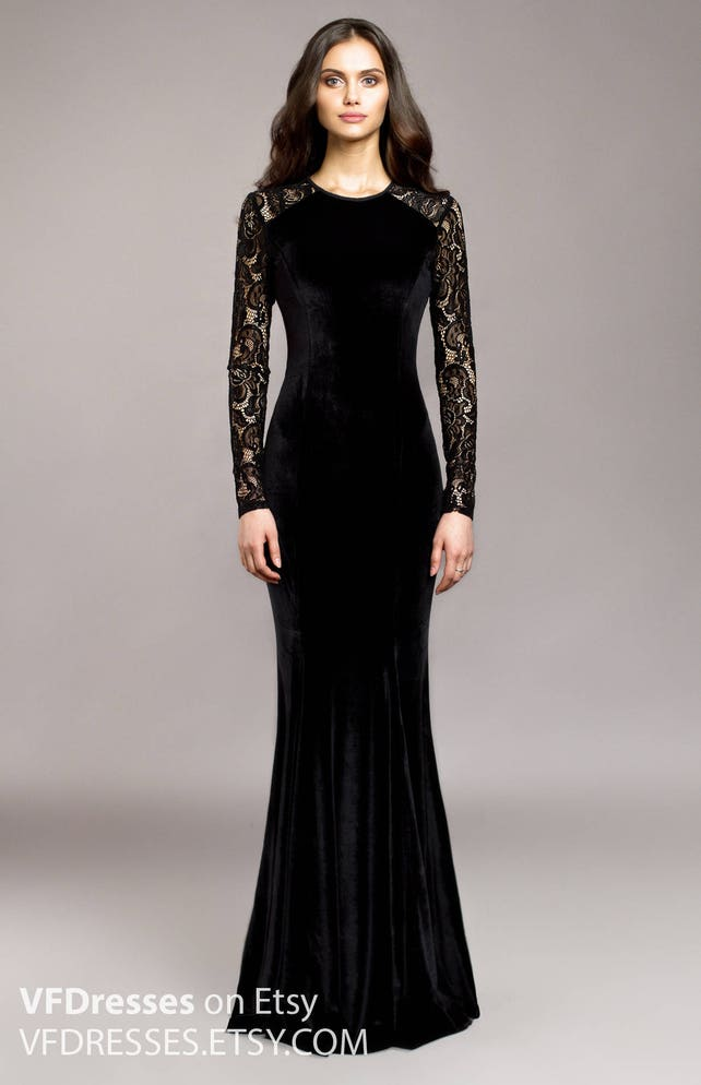 Black velvet evening dress wedding guest dress lace dress | Etsy