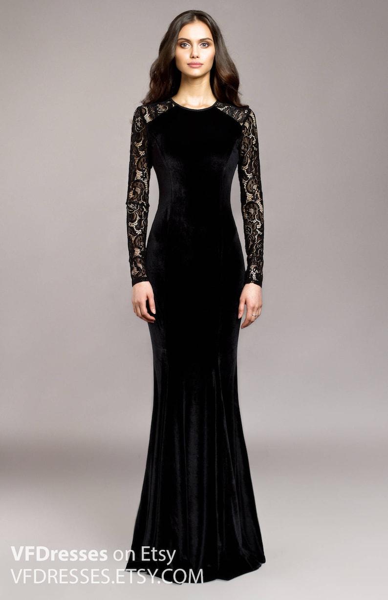Black Velvet Evening Dress Wedding Guest Dress Lace Dress Special Occasion Dress Sexy Dress Maxi Dress Evening Mermaid Dress