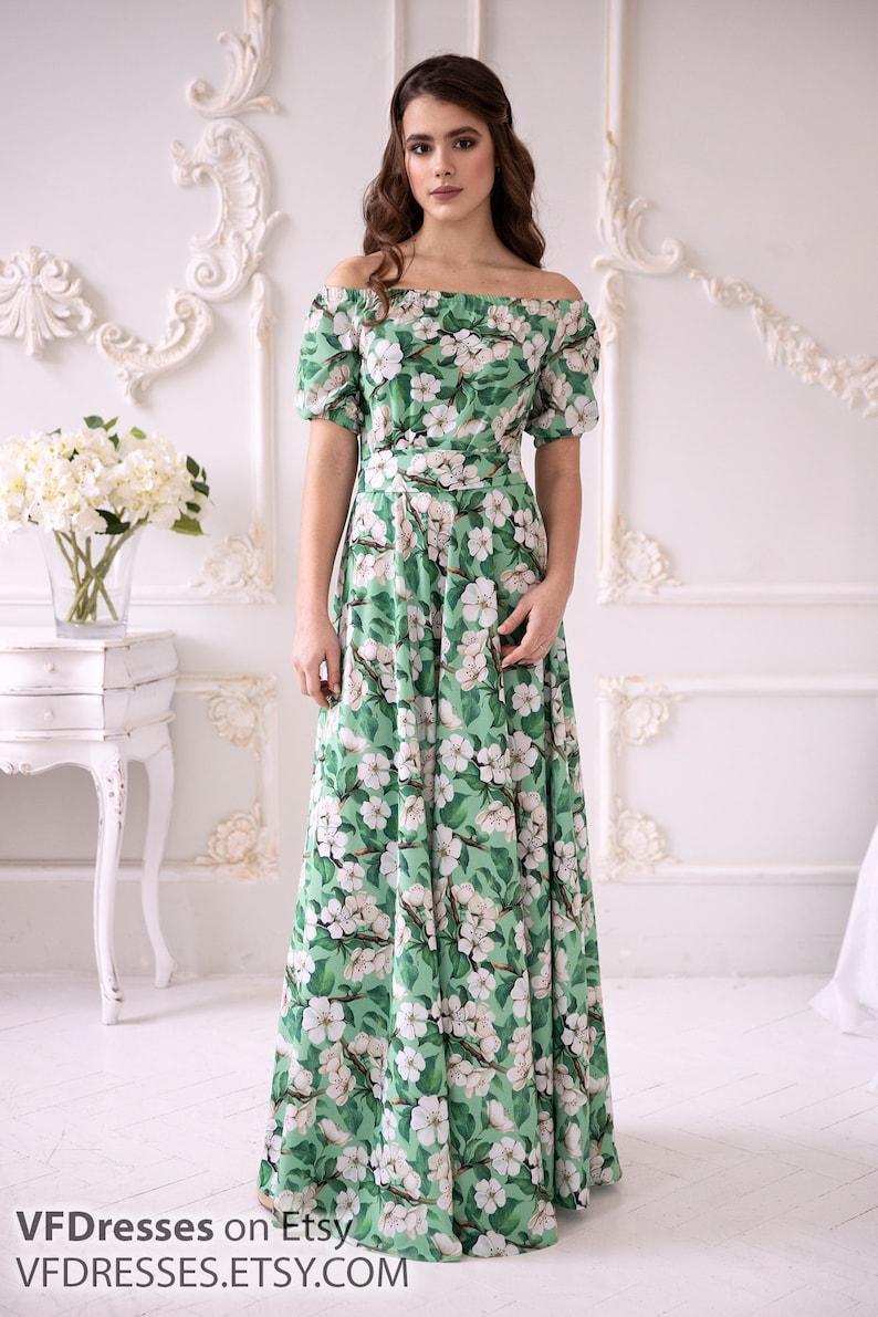 97d66b3c23 Green summer dress Maxi dress floral summer Dress floral