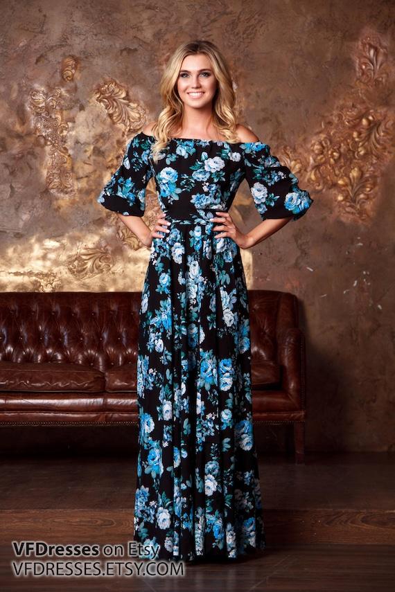b9c058048c63 Maxi dress Black floral summer Dress Black floral maxi off