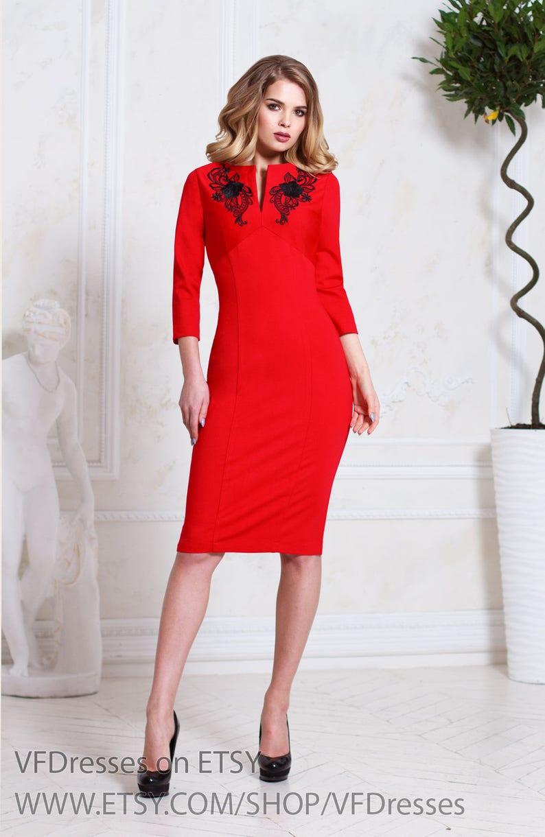 13c6cf5c4b2a Pencil dress Red dress casual dress midi dress 3/4 sleeve | Etsy