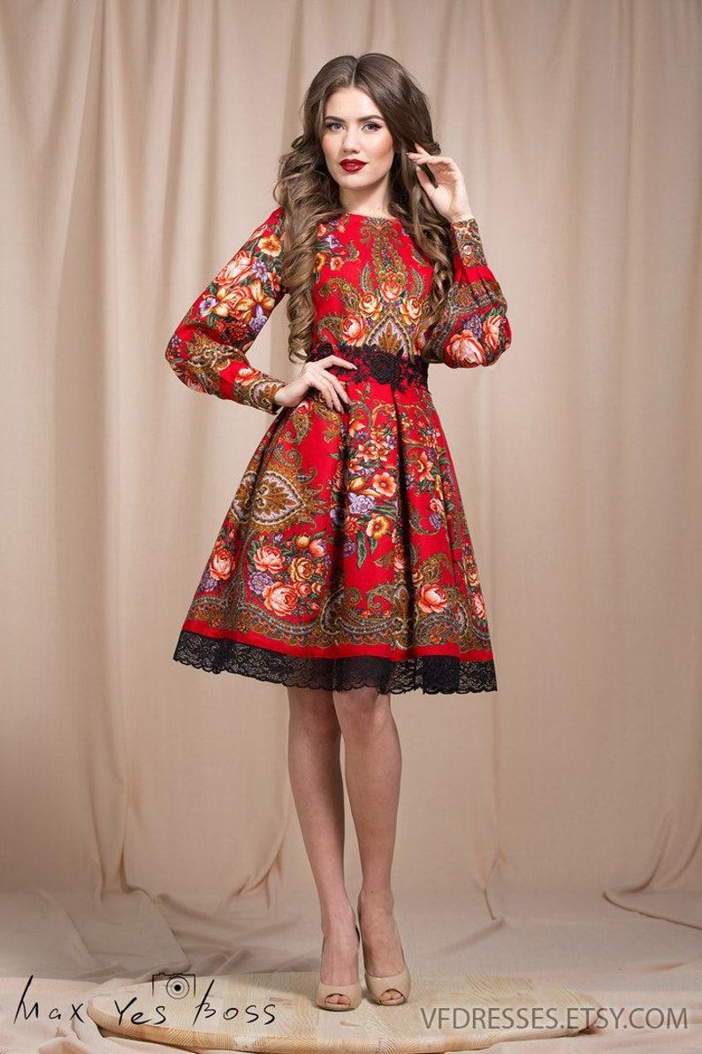 9a2e181468f Red Boho dress Floral summer dress floral gypsy Dress