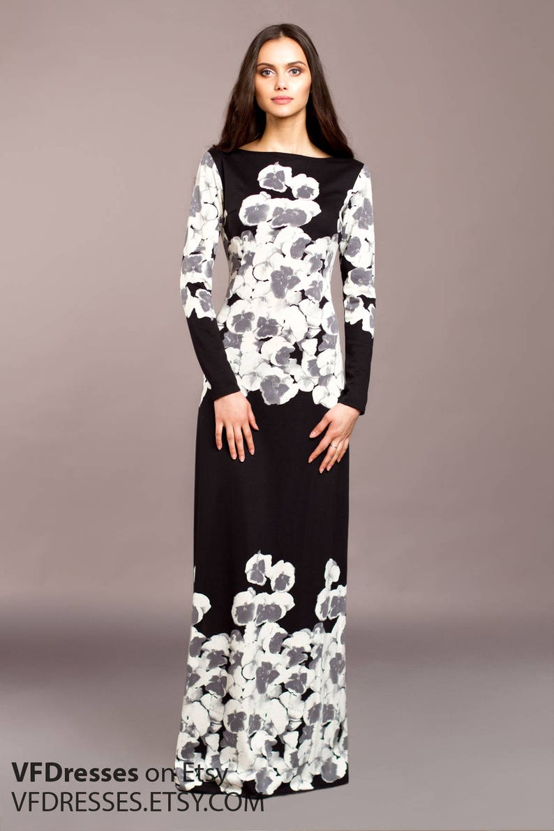Long Sheath Dress Black Casual Dress Printed Dress Long Sleeve Dress Bohemian Dress Elegant Maxi Dress Designer Dress Fashion Dress