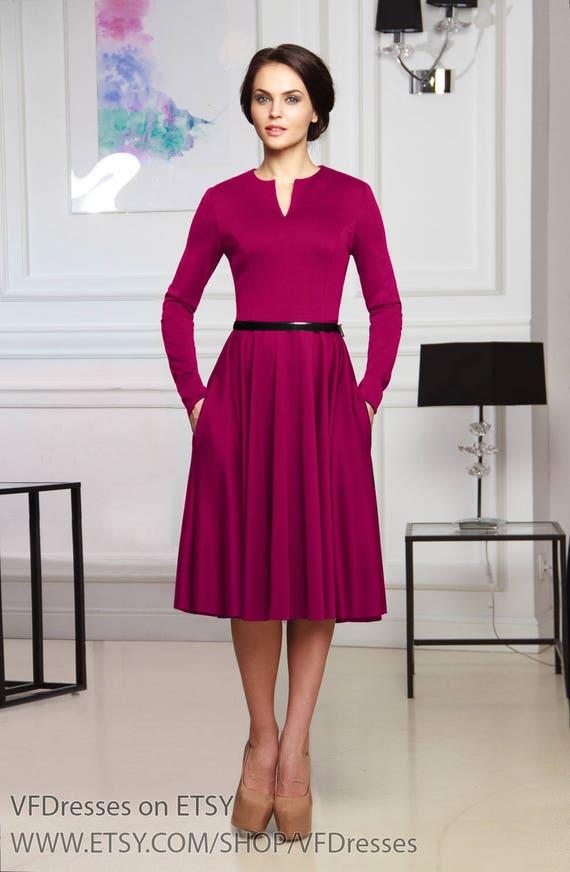 c2a068cb4a Dorywczo Sukienka Midi Sukienka Fuksja Sukienka Z Dżerseju Etsy
