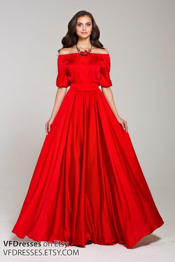 Red summer Dress Silk dress maxi off shoulder dress full  780b656606