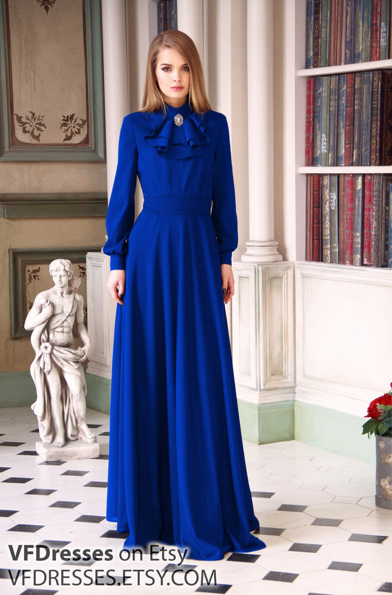 716056e761b Blue evening dress with jabot special occasion woman dress