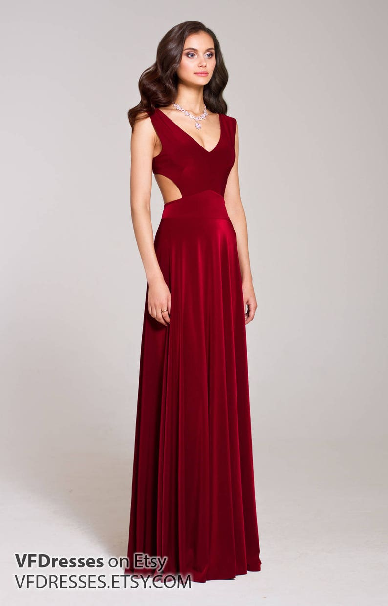 45e8d5405e24 Burgundy Dress Maxi with Open Back Special occasion sexy | Etsy