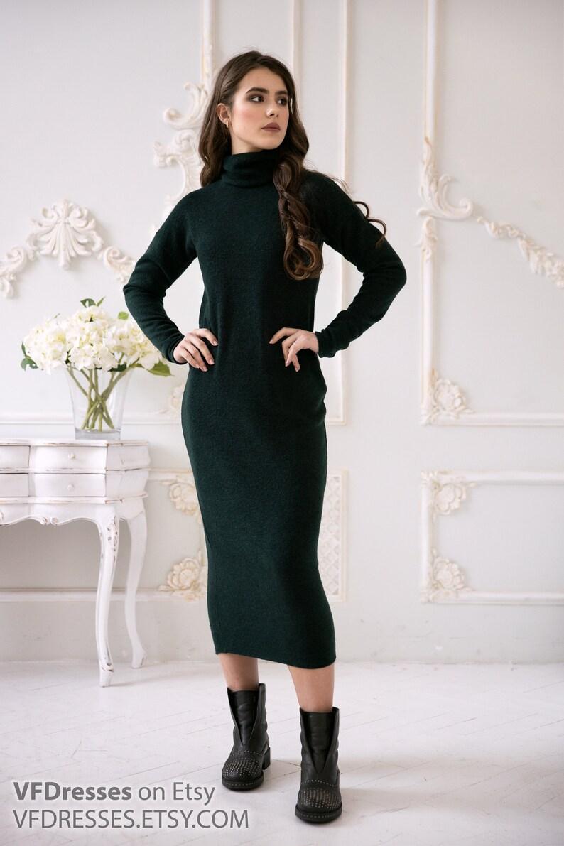 Angora dress,Dark Green casual Dress warm dress Sweater Dress Straight dress Chic Casual Angora High Neck Front autumn dress