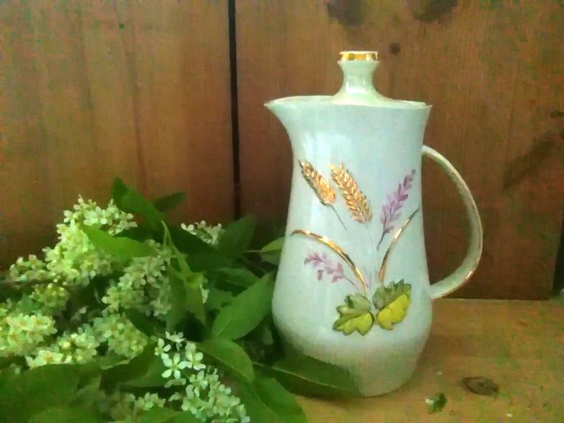 decor kitchen original gold jug big with lid jug porcelain white Vintage pitcher,Tableware painting hand-painted vintage white pitcher