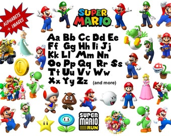 Full Alphabet 31 Super Mario Bros Clipart Images High Quality Transparent Background True Type Font Scrapbooking Stickers Party Banners Download 15256 Free Fonts Free Typography Script