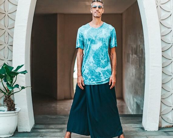 Mens 100% Bamboo Organic Indigo Plant Dye Oversized T-Shirt