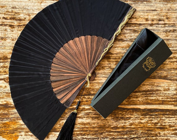 Ebony Wood Dragon Fan. 100% Silk