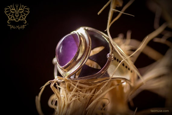 Tao Union Vescica Piscis Ring with Amethyst