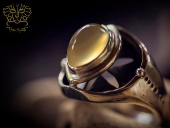 Tao Union Vesica Piscis Ring with Grape Stone