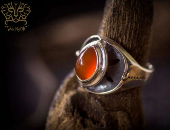 Tao Union Vescica Piscis Ring with Red Agate