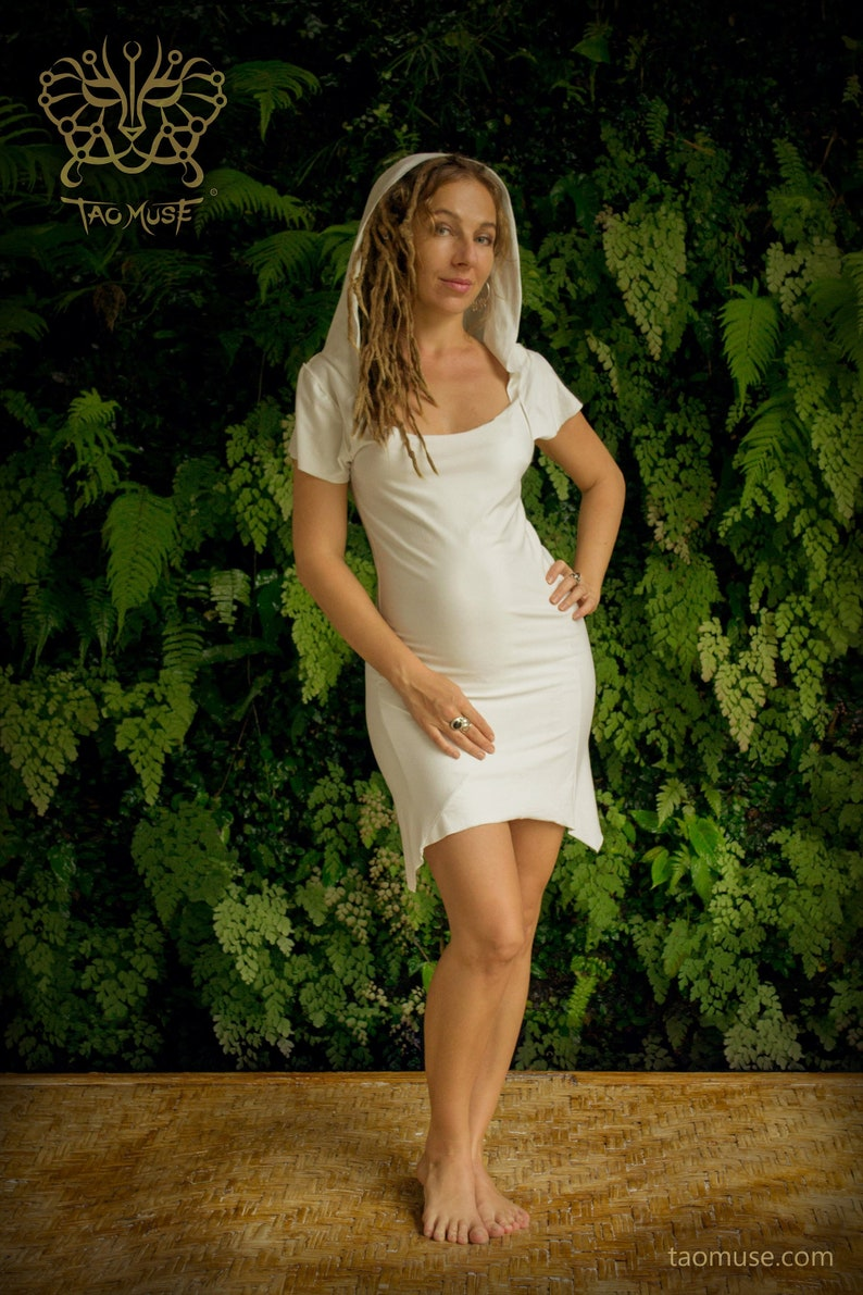 392830996d7 Hooded Bamboo Yoga Dress l Bohemian White dress l White Gypsy