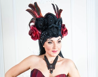 Fantasy Crown Gothic Headpiece Goddess Burlesque Crown With Feathers Carnival Festival Headpiece READY TO SHIP