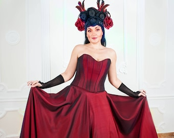 elegant corset queen dress gothic vampire halloween costume formal long maxi red burgundy ball gown skirt and corset ready to ship