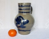 Old jug in Alsace sandstone, large stoneware pitcher, glazed stoneware pottery and blue cobalt decoration, salt pottery, jug, french country