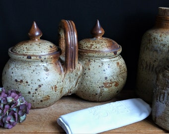 Double handcrafted stoneware jar with lids, double stoneware jar, original handcrafted pottery, stoneware serving accessory, French kitchen