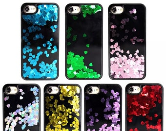 Liquid Glitter Floating Hearts Bling Sparkle Latest Design Case Cover For iPhone 6 6s 7 8