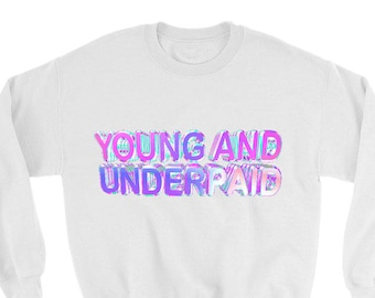 Young And Underpaid, Harajuku, Grunge shirt, vaporwave, pastel goth, seapunk, kawaii tee, kawaii shirt, Japanese, tumblr tee, Graphic Shirt