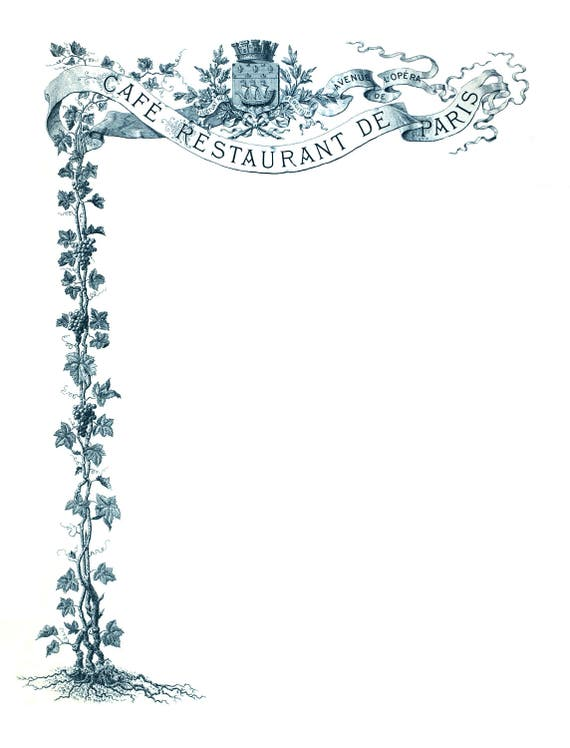 vintage french menu template blue and white etsy