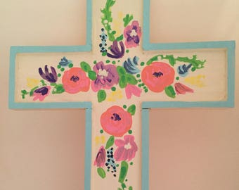 Floral Wooden Wall Cross