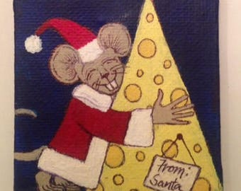 Hand-painted Acrylic Mini Canvas Mouse With Cheese Ornament
