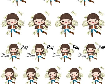Isabella / Cute Girl / Brown Hair / Pay Day // Enchanted Squad / Planner Stickers / Printable / Cricut / Instant Download