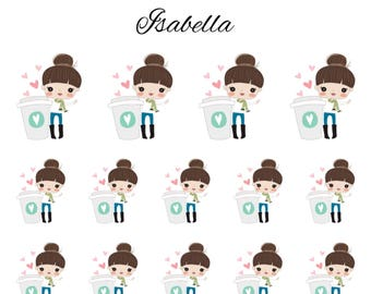 Isabella / Cute Girl / Brown Hair / Coffee Characters // Enchanted Squad / Planner Stickers / Printable / Cricut / Instant Download
