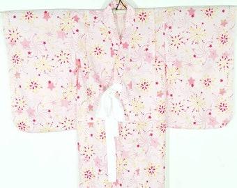 Japanese Yukata Summer Kimono Cotton Blue Indigo Robe Motifs of Floral Flowers Boho Art 120219-19